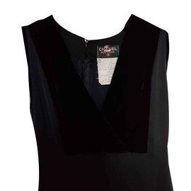 Chanel-Robe soie et velours-Noir