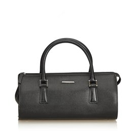 Burberry-Leather Boston Bag-Black