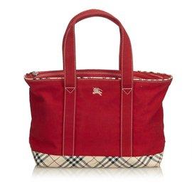 Burberry-Canvas Shoulder Bag-Red,Multiple colors