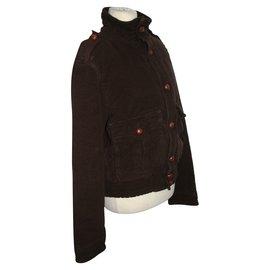 Red Valentino-Veste à boutons en cuir-Cognac