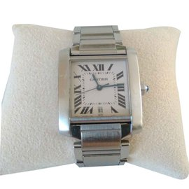 Cartier-TANK FRENCH Mens Steel Watch-Metallic