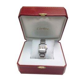 Cartier-TANK FRANZÖSISCHE Herrenuhr aus Stahl-Metallisch