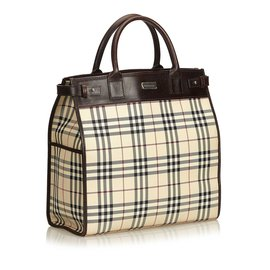 Burberry-Plaid Coated Canvas Tote Bag-Brown,Multiple colors,Beige