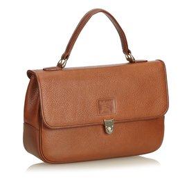 Burberry-Leather Handbag-Brown