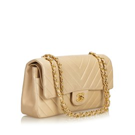 Chanel-Chevron Medium Double Flap Bag-Marron,Beige