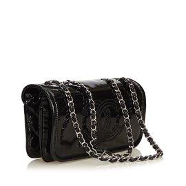 Chanel-Sac à chaîne en cuir verni-Noir