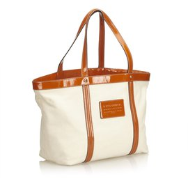 Dolce & Gabbana-Canvas Tote-Blanc,Orange