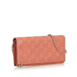 Gucci-Guccissima Chain Wallet-Rose,Autre