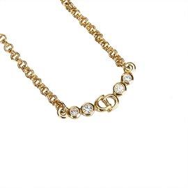 Dior-Collier chaîne avec strass-Doré