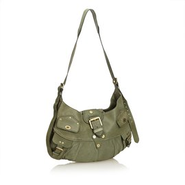 Mulberry-Leather Shoulder Bag-Green,Dark green