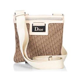 Dior-Sac bandoulière en jacquard oblique-Marron,Blanc,Beige