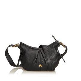 Burberry-Leather Crossbody Bag-Black