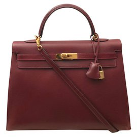 Hermès-Hermes Kelly 35 bag Siena-Dark red