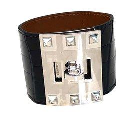 Hermès-Très beau bracelet Hermes  Kelly Extreme, crocodile noir, NEUF-Noir