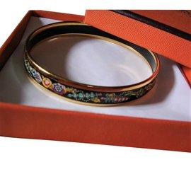 Hermès-Bracelet Hermès Vintage en Plaqué Or 18 carats et Émail  multicolore-Multicolore ... 6ce0159754c