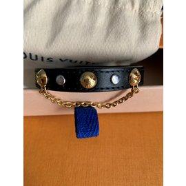 Louis Vuitton-Bracelet modèle Harajuku en cuir noir-Noir
