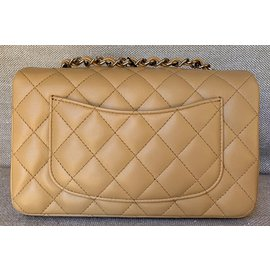 Chanel-Mini Flap with Silver Chain-Beige