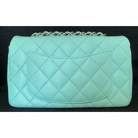 Chanel-Light Blue Classic Quilted Lambskin Mini Flap with Silver Chain-Light blue