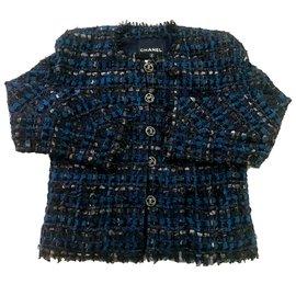 Chanel-Blue Silk Ribbon Jacket-Blue