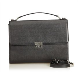 Burberry-Leather Business Bag-Black