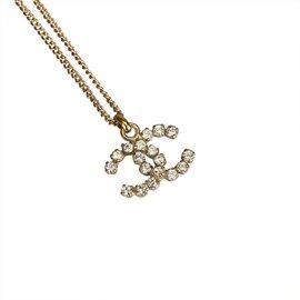 Chanel-Collier de strass CC-Doré