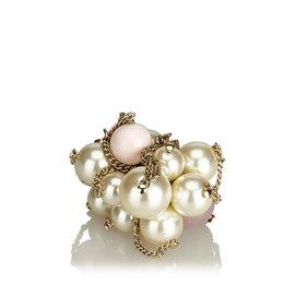 Chanel-Bague Faux Perle CC-Blanc,Doré,Écru