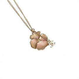 Chanel-Collier pendentif camélia-Rose,Doré