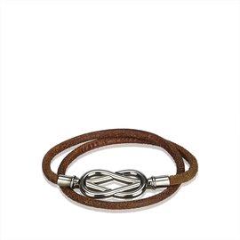 Hermès-Bracelet infini en cuir-Marron,Argenté,Marron foncé