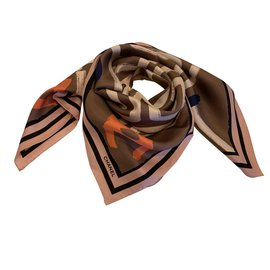 Chanel-scarf silk CHANEL-Brown
