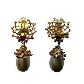 Yves Saint Laurent-Boucles d'oreilles pendantes - Clip-on earrings-Doré