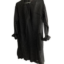 Alexander Wang-Robe à rayures noir/gris-Noir