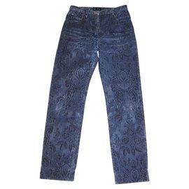 Armani Jeans-Jeans avec motif floral tissé-Noir,Bleu