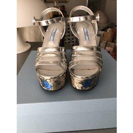 Prada-Wedge sandals-Silvery