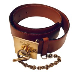 Céline-Wide square buckle with chain-Caramel