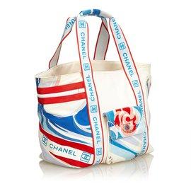 Chanel-Sac cabas tricolore Sports Line-Blanc,Multicolore
