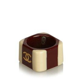 Chanel-Bague CC-Marron,Rouge,Beige,Bordeaux