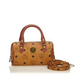 6bdf4c5b013f MCM-Visetos Leather Mini Boston Bag-Brown ...