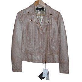 Gucci-veste en cuir monogrammé beige-Beige