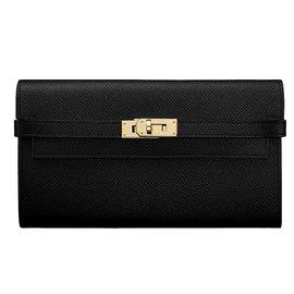 Hermès-Portefeuille Kelly Long-Noir
