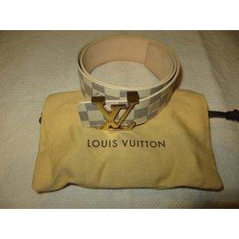 Louis Vuitton-LV INITIALS DAMIER AZUR CEINTURE ref M9609-Blanc cassé,Bleu Marine