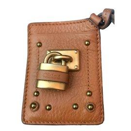Chloé-Keychain card holder-Cognac