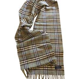 Burberry-Superbe écharpe laine et cachemire-Gris,Vert clair ... 1fff19b1578
