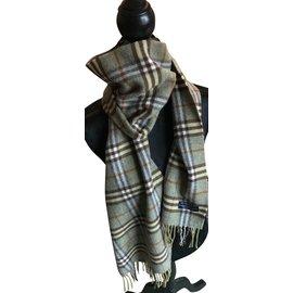 6197587bfb25 ... Burberry-Superbe écharpe laine et cachemire-Gris,Vert clair