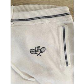 Chanel-Pantalons, leggings-Blanc,Bleu Marine