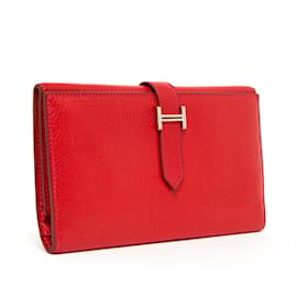 Hermès-BEARN 3 FLAPS RED-Red