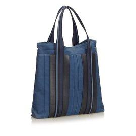 Hermès-Sac Échange Vertical-Noir,Bleu