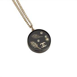 Chanel-Collier pendentif en émail-Noir,Argenté