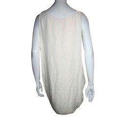 Halston Heritage-Silk drape dress-Cream