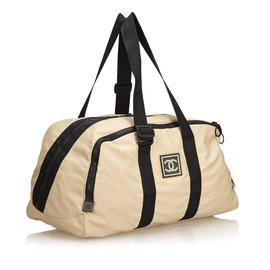 Chanel-Sac de sport CC Nylon Sport Line-Marron,Noir,Beige
