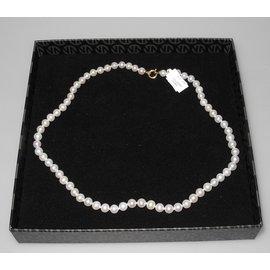 Autre Marque-Misaki superbe collier de perles en or blanc 750 neuf étiquette-Blanc